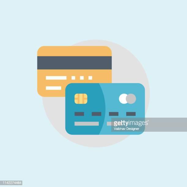 カード決済、フラットスタイルの銀行クレジットカード-イラスト - クレジットカード点のイラスト素材/クリップアート素材/マンガ素材/アイコン素材