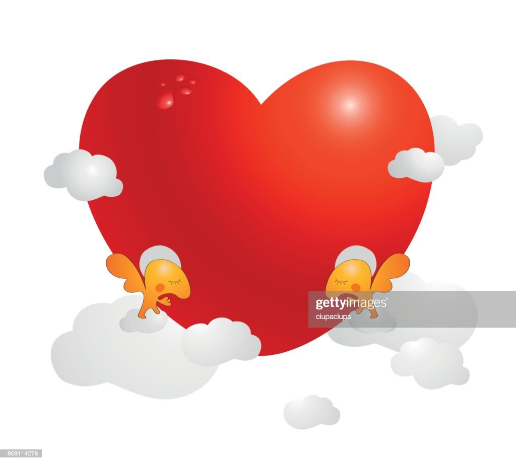 Card, picture or poster with small Angels holding big red Valentine heart surrounded by clouds. Love, gratefulness, adoration, friendship concept.