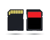 SD card, realistic vector illustration of memory card isolated on white background