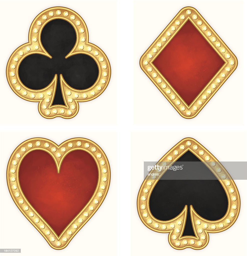Card Symbols Hearts Clubs Spades And Diamonds Icons Vector ...