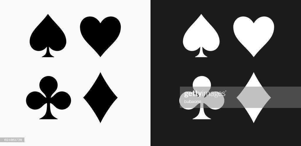 Símbolos de tarjeta establecer icono en blanco y negro Vector fondos : Ilustración de stock