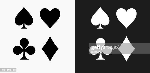 card symbols set icon on black and white vector backgrounds - heart symbol stock illustrations