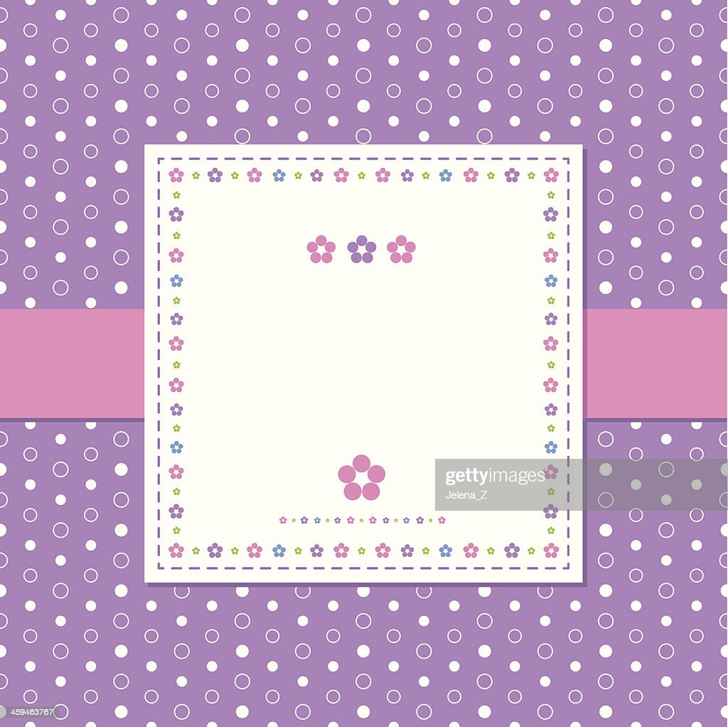 A card template with a violet polka dot and flowered decor