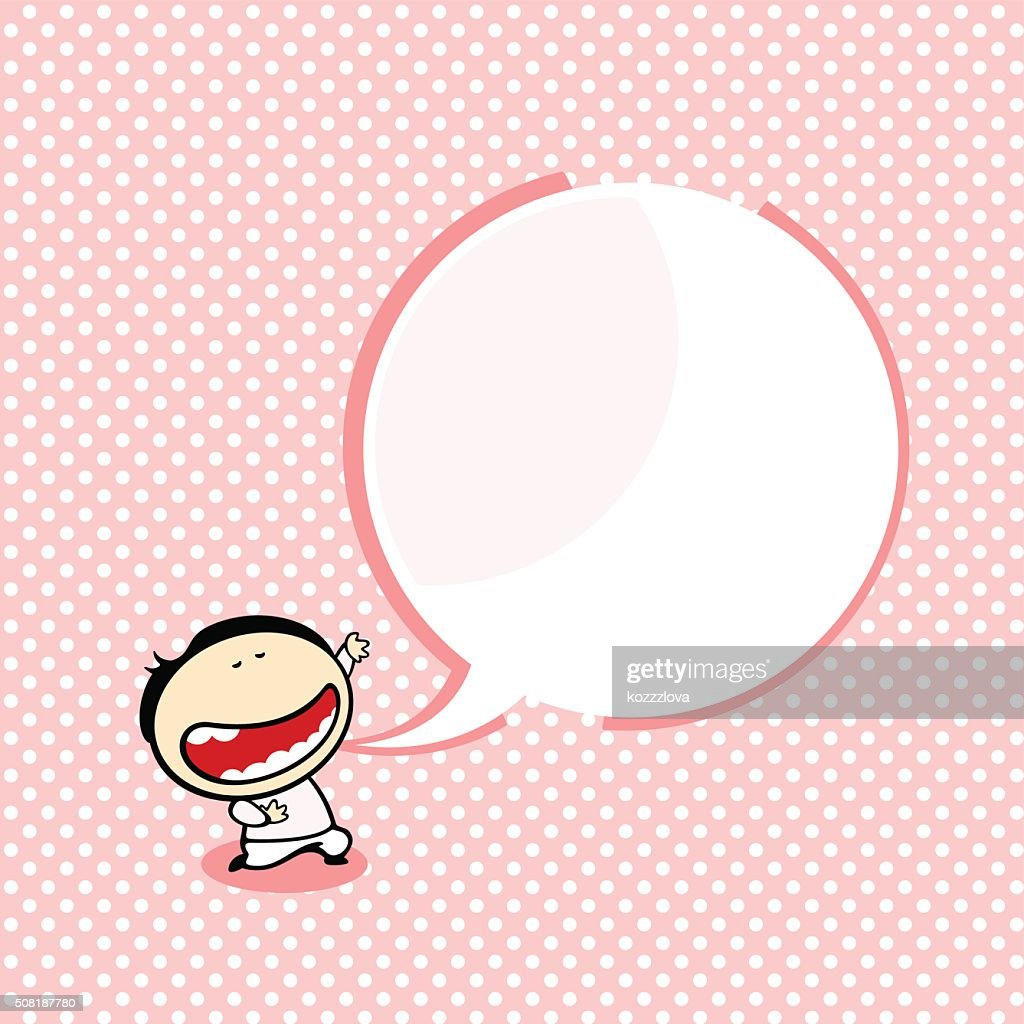 Card with a funny boy and a speech bubble