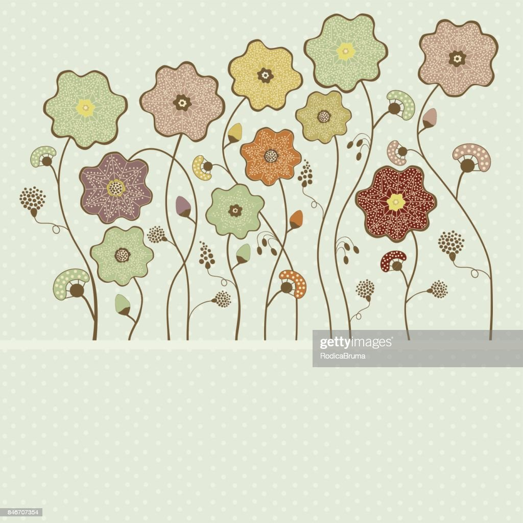 Card with abstract flowers on polka dot background