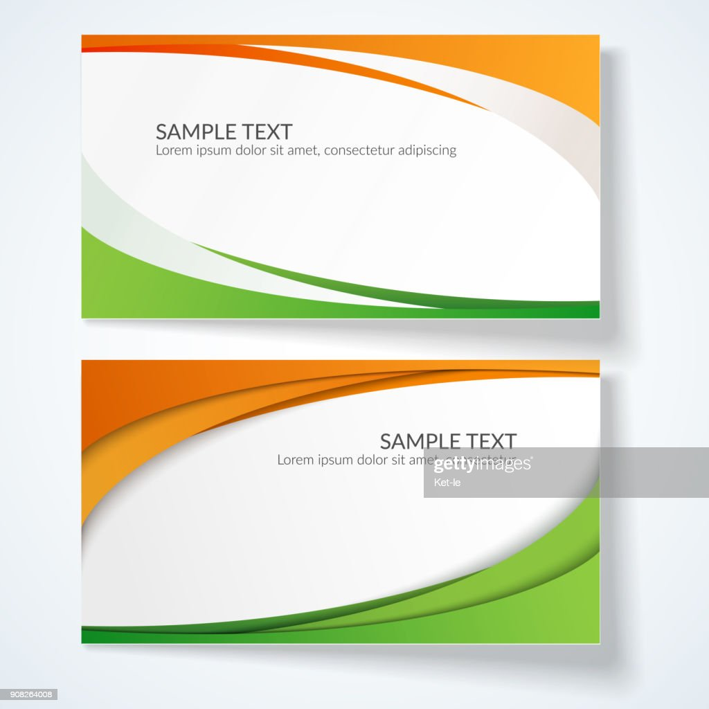 Card with abstract wavy lines Orange and green stripes Creative element for the design of templates postcards advertisements poster Abstract decorative background for business card template Vector Set