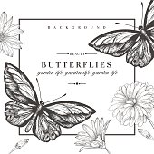 Card with butterflies and flowers.