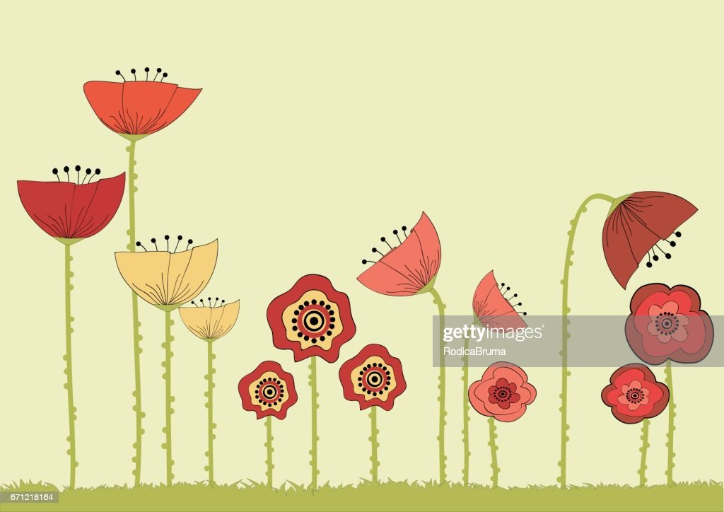 Card With Cartoon Poppy Flowers Vector Art Getty Images