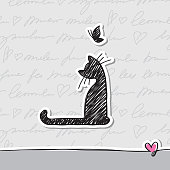card with cat, vector eps 10