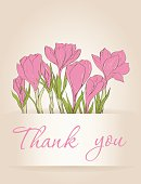 Card with crocus spring flowers