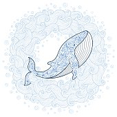 Card with cute whale in cartoon doodle style.