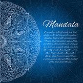 Card with glow mandala. Geometric circle element.