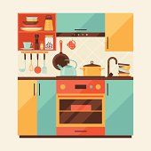 Card With Kitchen Interior And Cooking Utensils In Retro Style