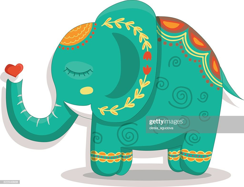 Card with lovely cute pattern Elephant. Vector illustration in cartoon