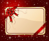 Card with ribbon on red background