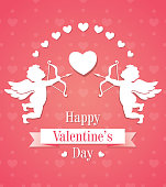 Card with two paper cupids