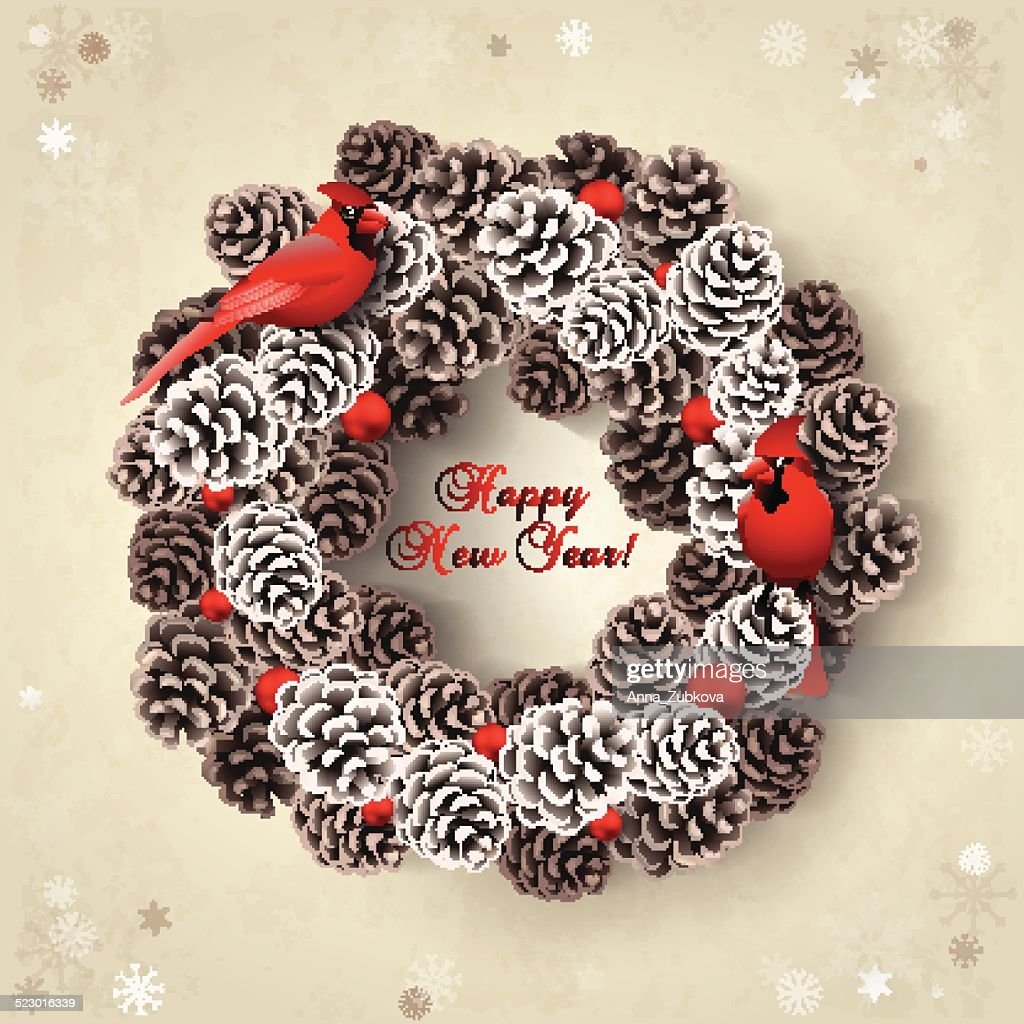Card with wreath of fir cones and redbirds