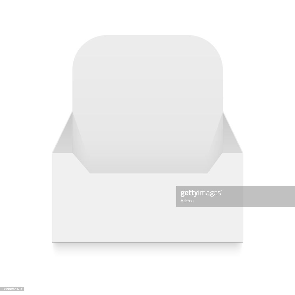 POS POI Cardboard Blank Empty Display Show Box Holder For Advertising Fliers, Leaflets, Products. Vector illustration