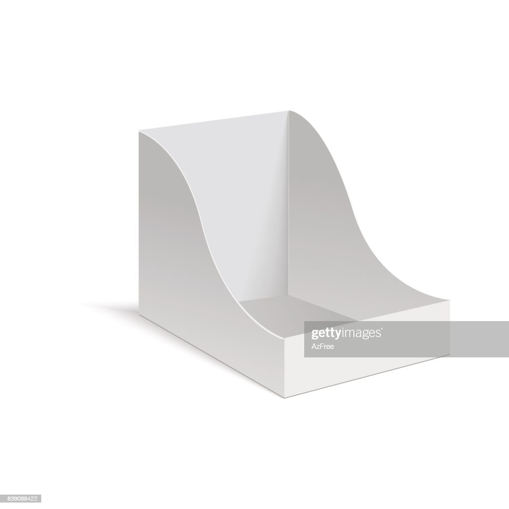 POS POI cardboard blank empty display show box holder. Vector mock up template ready for your design