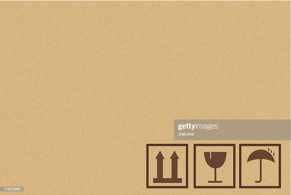 Cardboard Box Background With Icons