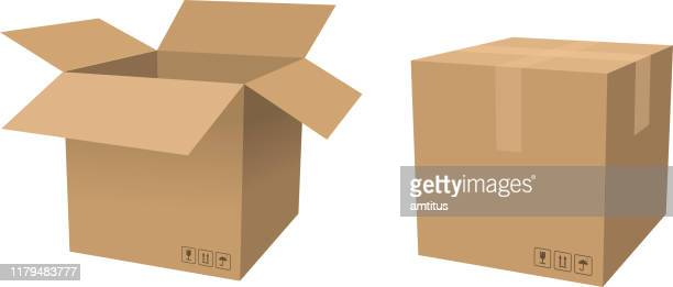 cardboard box open and close - fragile sign stock illustrations