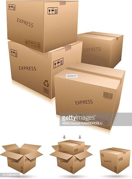 ilustrações, clipart, desenhos animados e ícones de caixa de papelão de embalagem - embalagem cartonada