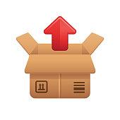 Cardboard Box & Up Arrow - Novo Icons