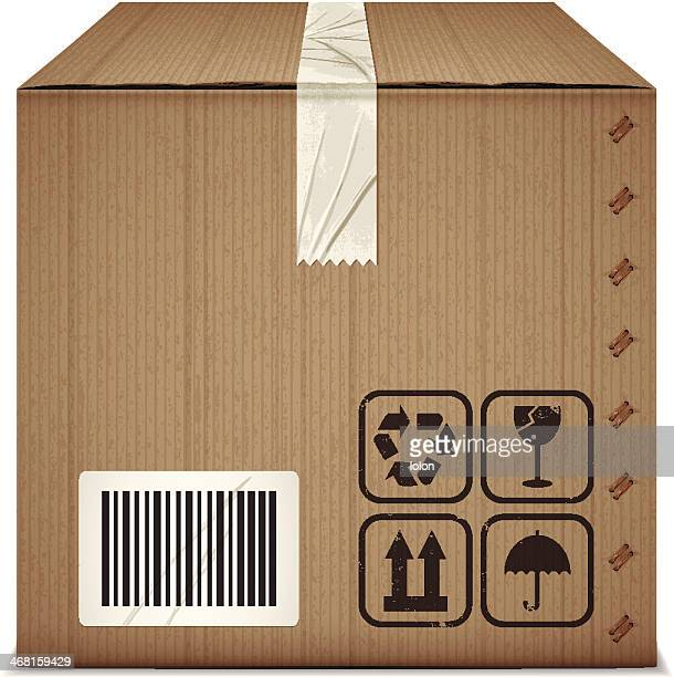 cardboard box with adhesive tape and packaging icons - fragile sign stock illustrations