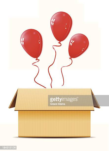 cardboard box with balloons -vector - two dimensional shape stock illustrations