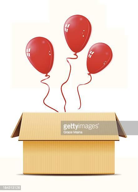 Cardboard box with balloons -VECTOR