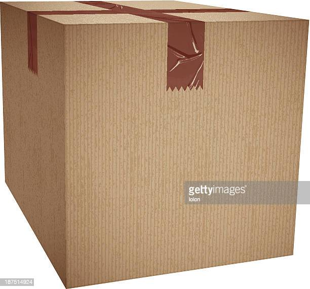 cardboard box with packing tape