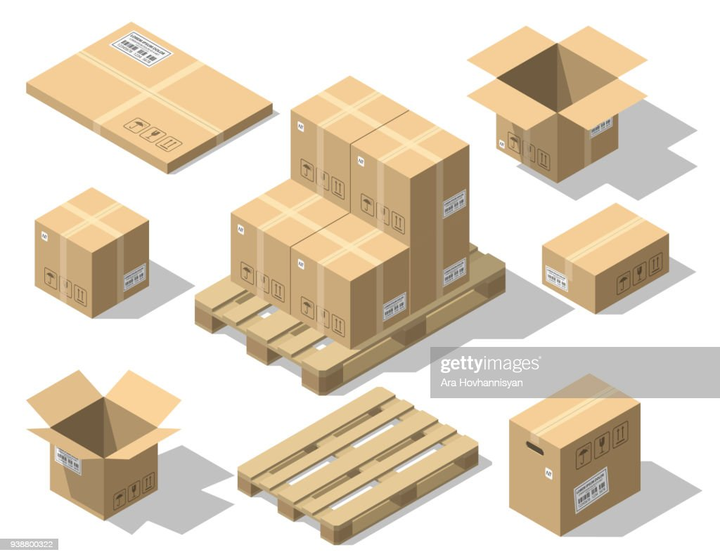 Cardboard boxes and wood pallet isometric set