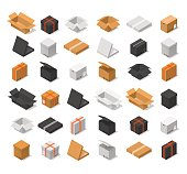 Cardboard Boxes Color Set Isometric View. Vector