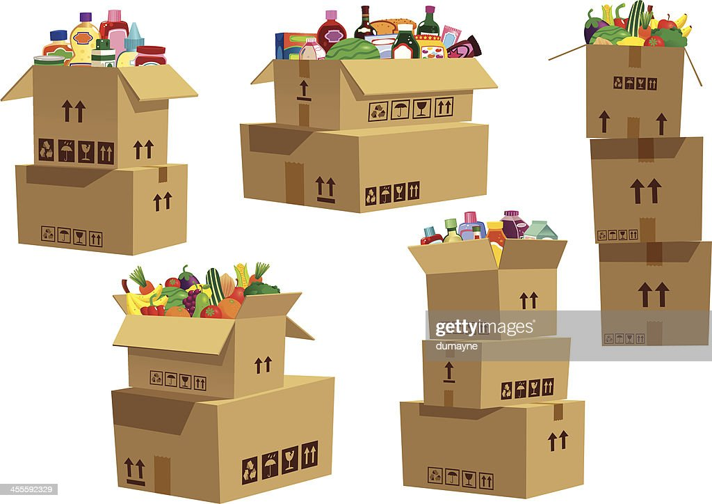 Cardboard boxes stacked with grocery goods