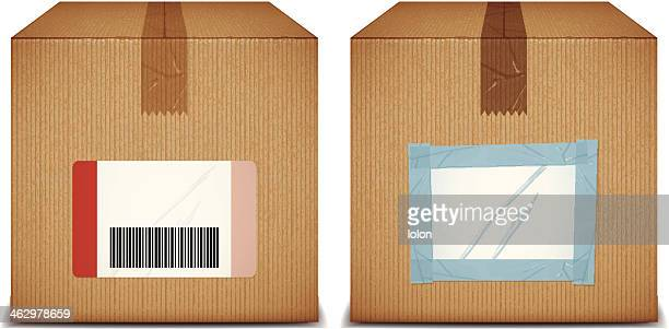 cardboard boxes with blank labels