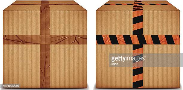 cardboard boxes with duct tape