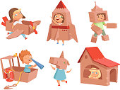 Cardboard kids playing. Childrens games with paper containers making airplane car and ship vector characters in cartoon style