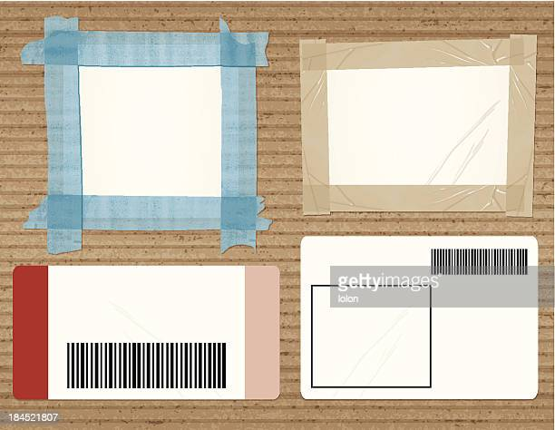 cardboard with four shipping labels - crumpled stock illustrations