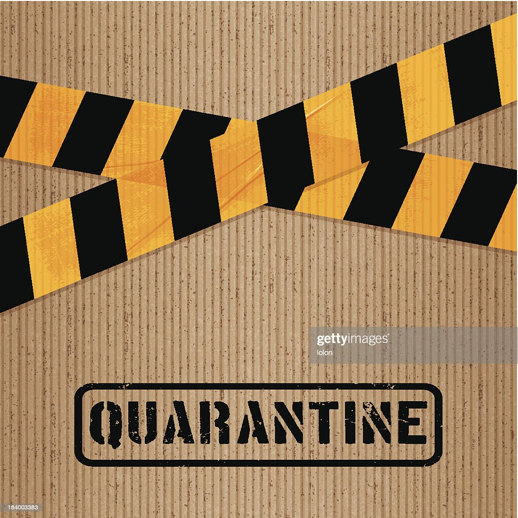 cardboard with printed packing tape and icons_quarantine