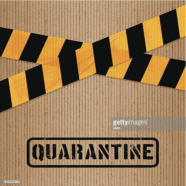 stockillustraties, clipart, cartoons en iconen met cardboard with printed packing tape and icons_quarantine - lolon