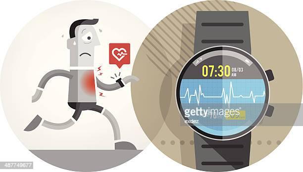 cardiac alert on smart watch - cardiac conduction system stock illustrations