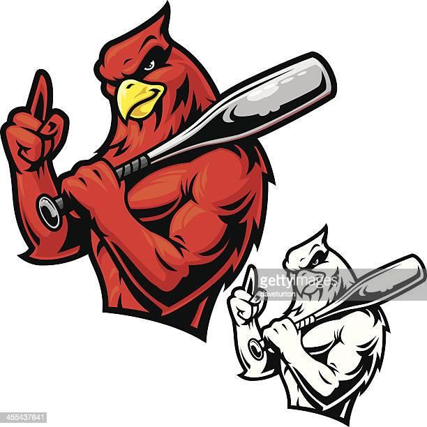 cardinal baseball mascot - cardinal bird stock illustrations, clip art, cartoons, & icons