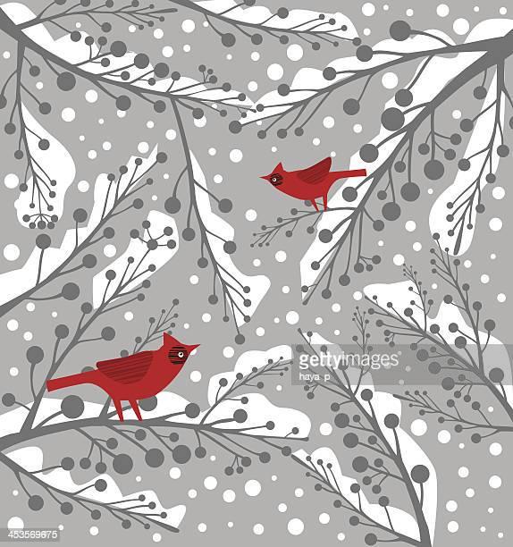cardinal bird on branch in winter - cardinal bird stock illustrations, clip art, cartoons, & icons