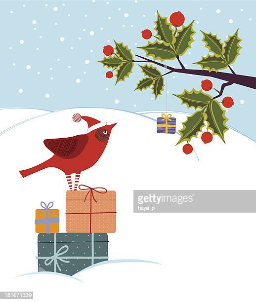 cardinal, holly tree, winter, gift box - cardinal bird stock illustrations, clip art, cartoons, & icons
