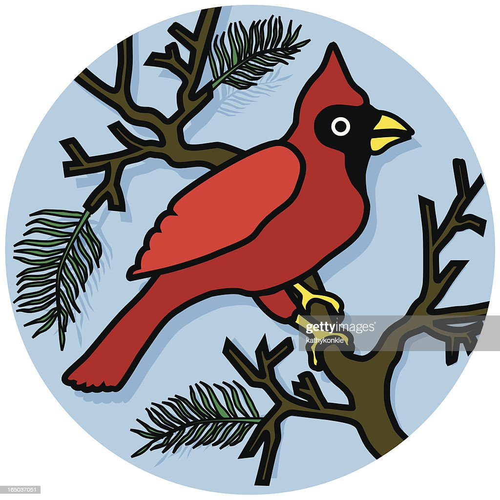 cardinal in a pine tree icon