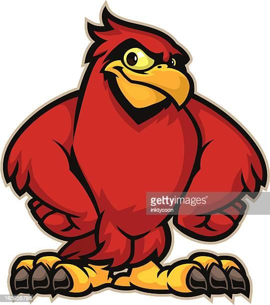 cardinal mascot - cardinal bird stock illustrations, clip art, cartoons, & icons