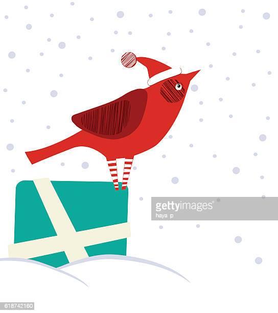 Cardinal On Gift Box