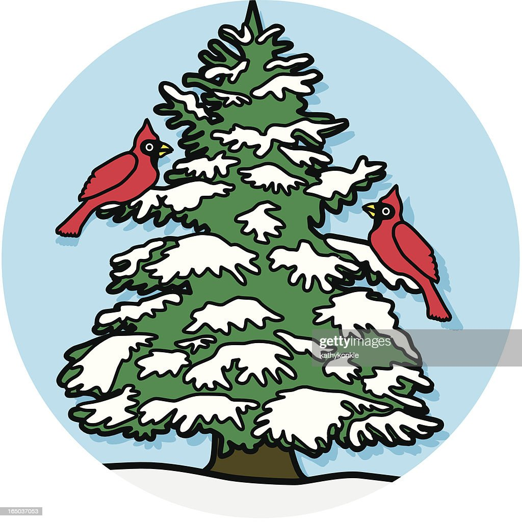 Cardinals in a pine tree icon