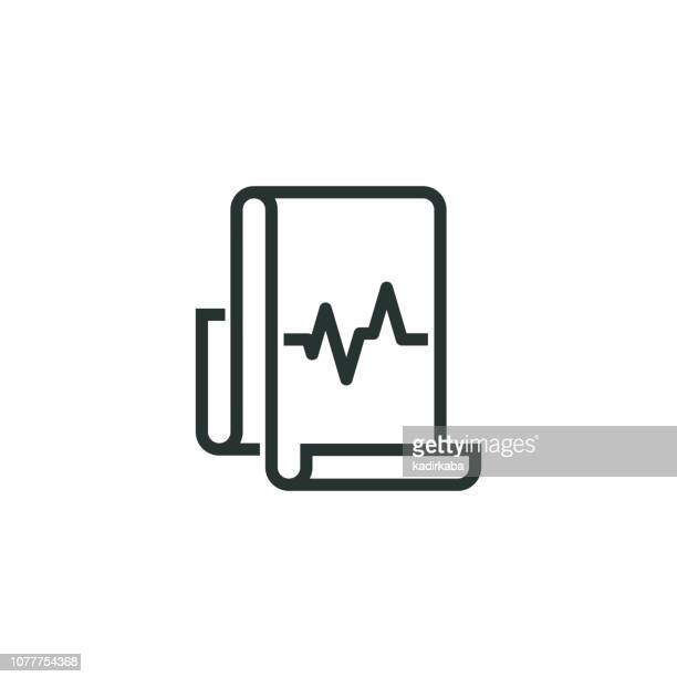 cardiogram line icon - cardiovascular exercise stock illustrations, clip art, cartoons, & icons