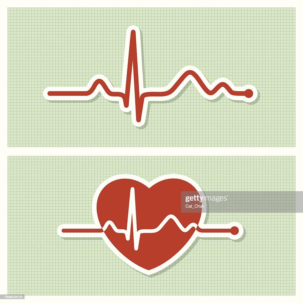 Cardiogram medical icons